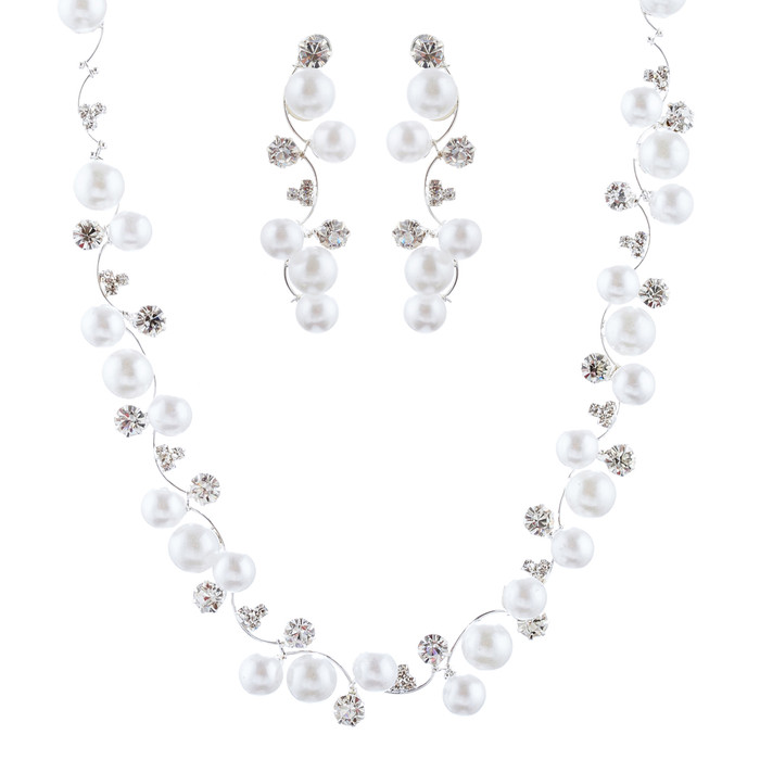 Bridal Wedding Jewelry Set Crystal Rhinestone Pearl White