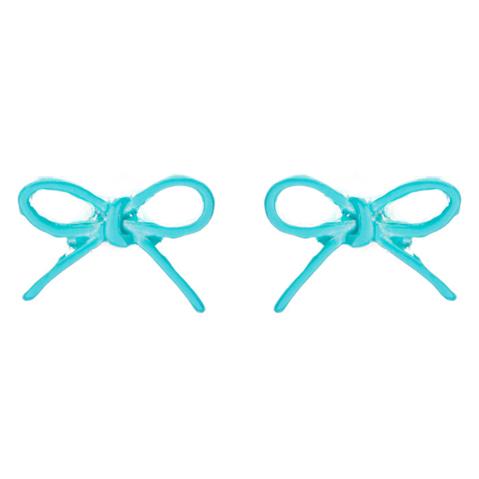 Adorable Cute Ribbon Bow Design Enamel Mini Fashion Stud Earrings Turquoise Blue