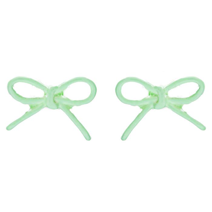 Adorable Cute Ribbon Bow Design Enamel Mini Fashion Stud Earrings Mint Green