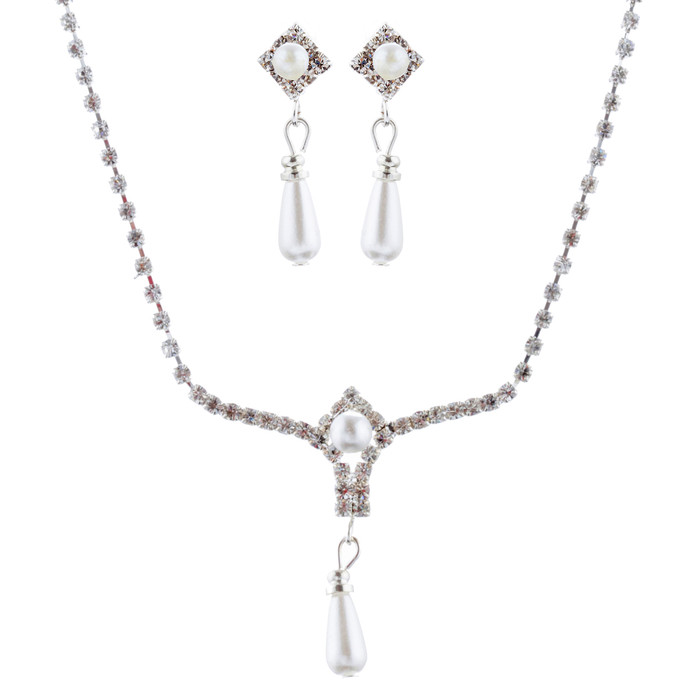 Bridal Jewelry Set Austrian Crystal Rhinestone Pearl Necklace Earrings