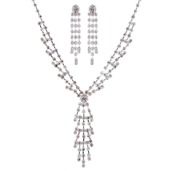 Bridal Jewelry Set Crystal Rhinestone Y Drop3