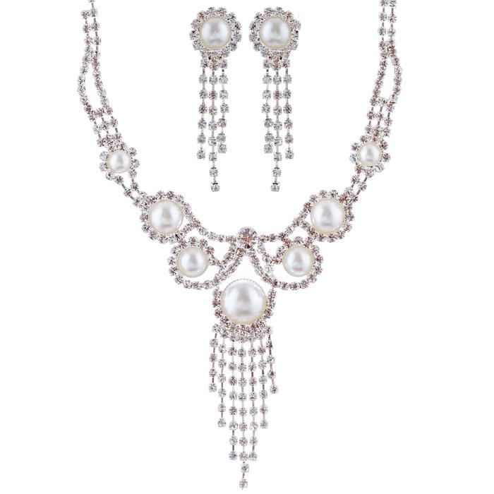 Bridal Wedding Jewelry Set Crystal Rhinestone Pearl Vintage Drop Necklace Silver
