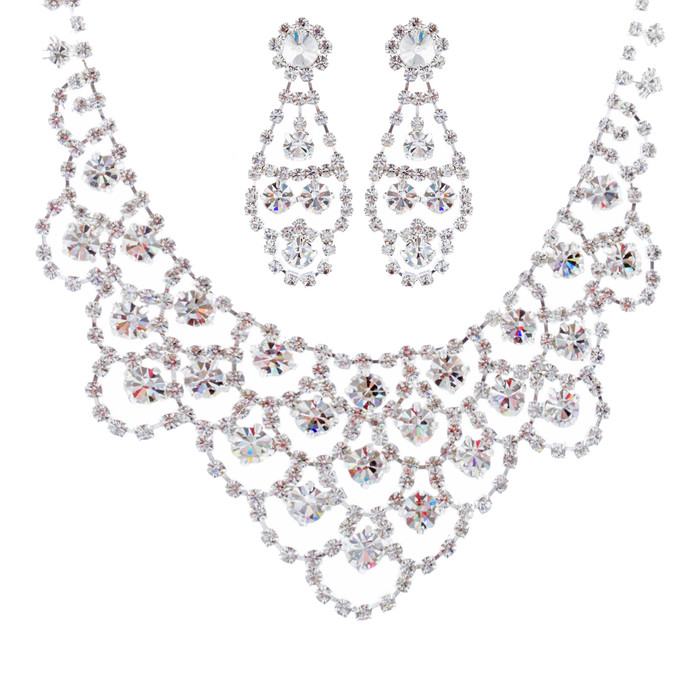 Bridal Wedding Jewelry Set Crystal Rhinestone Classic Bib Drop Necklace Silver