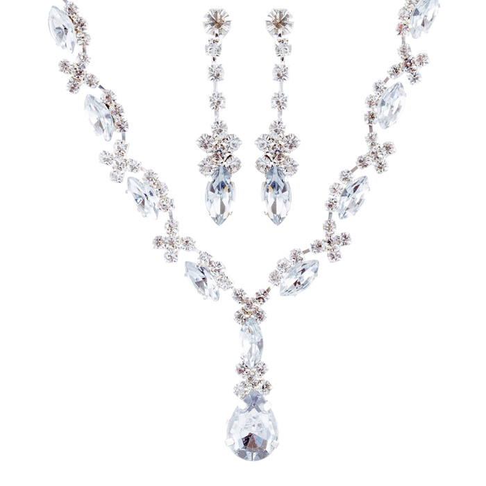 Bridal Wedding Jewelry Set Crystal Rhinestone Patterned Beautiful Necklace SV