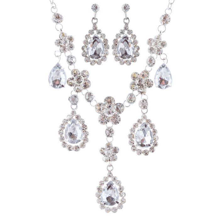 Bridal Wedding Jewelry Set Crystal Rhinestone Gorgeous Multi Teardrop Dangles SV