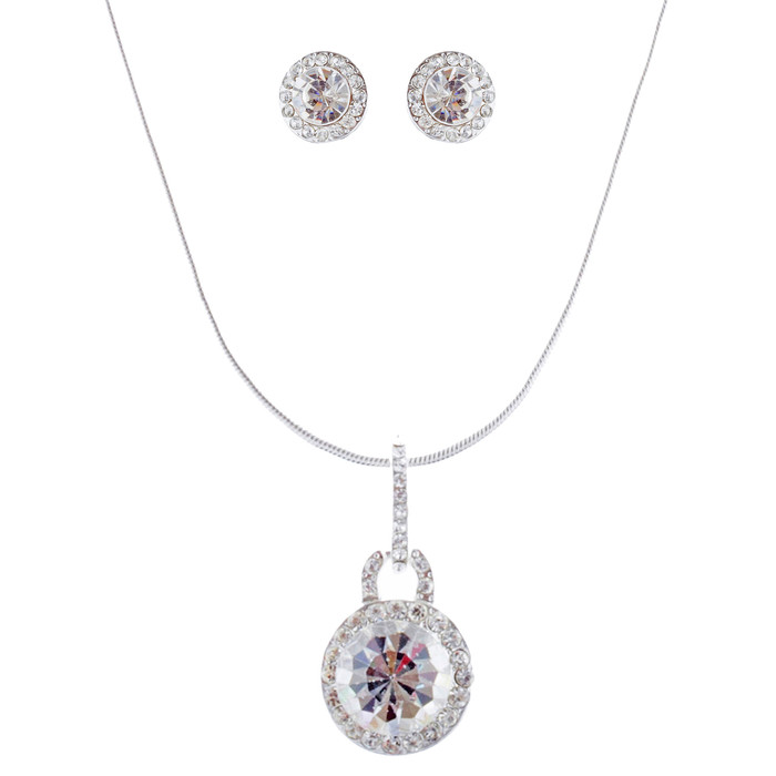 Bridal Wedding Jewelry Set Crystal Rhinestones Simple Soft Linear Drop Necklace