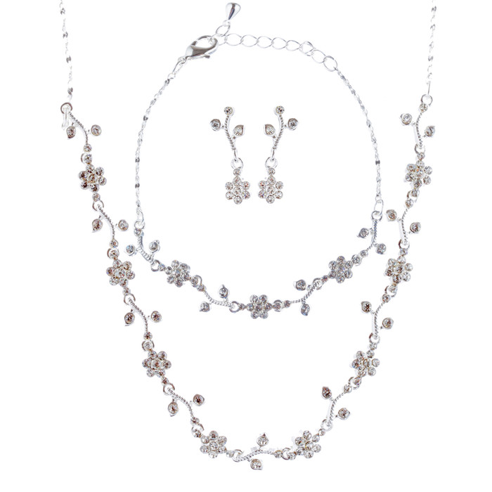 Bridal Wedding Jewelry Set with Crystal Rhinestone Simple Soft Linear Drop Necklace