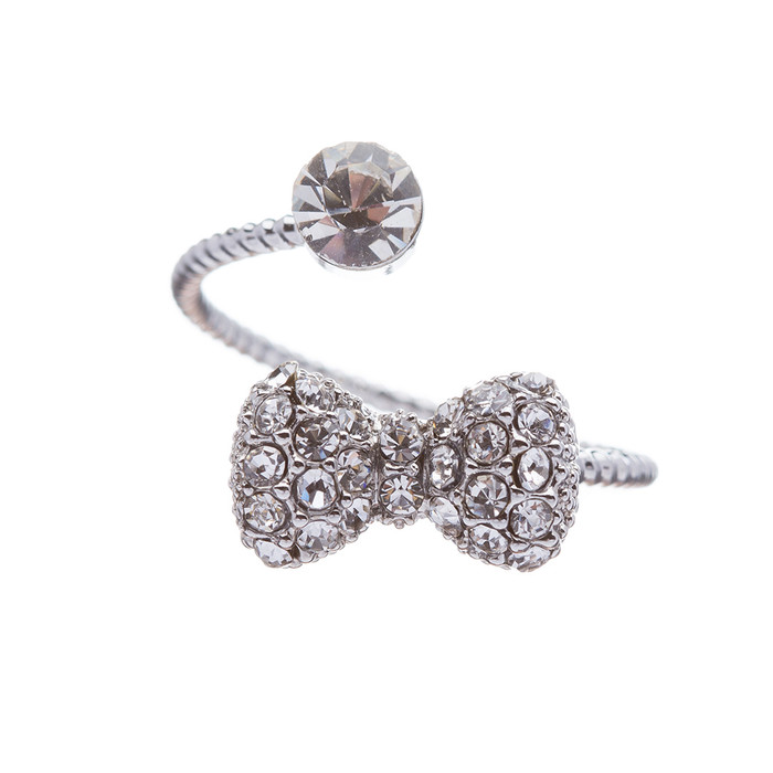 Fashion Gorgeous Ribbon Bow Tie Dazzle Crystal Rhinestone Adjustable Ring Silver