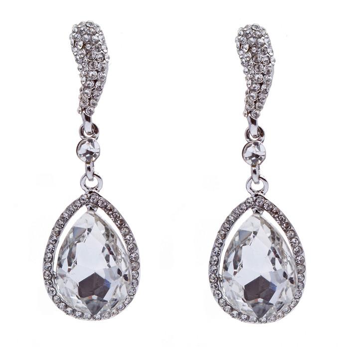 Bridal Wedding Crystal Rhinestone Bright Beautiful Classic Dangle Earring Silver