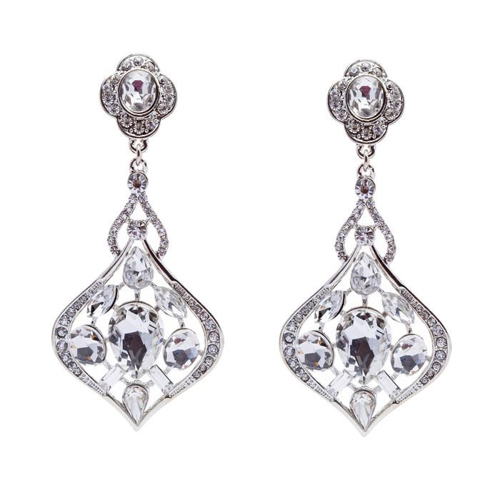 Bridal Wedding Jewelry Crystal Rhinestone Extraordinary Stylish Earrings Silver