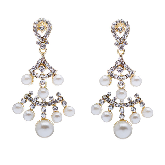 Bridal Wedding Jewelry Crystal Rhinestone Pearl Dazzle Vintage Earrings Gold