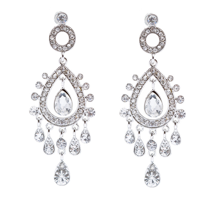 Bridal Wedding Jewelry Crystal Rhinestone Stylish Vintage Dangle Earrings Silver