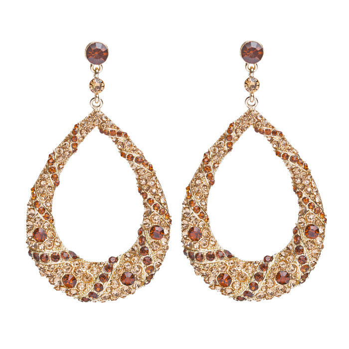Beautiful Dazzling Crystal Rhinestone Large Hoop Dangle Drop Earrings Gold Brown