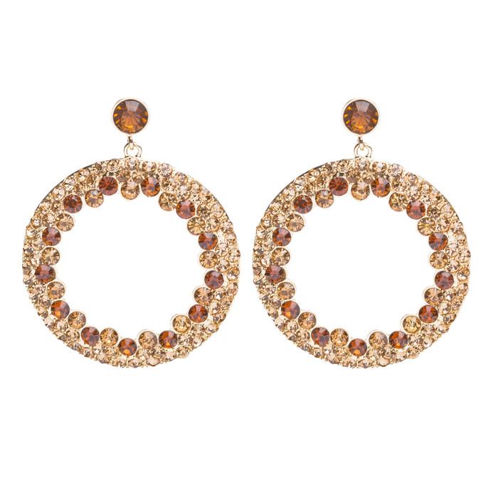 Beautiful Dazzling Crystal Rhinestone Round Circle Dangle Drop Earrings Gold