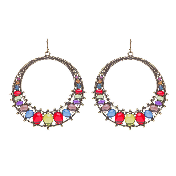 Beautiful Dazzling Crystal Rhinestone Open Circle Dangle Fashion Earrings Multi