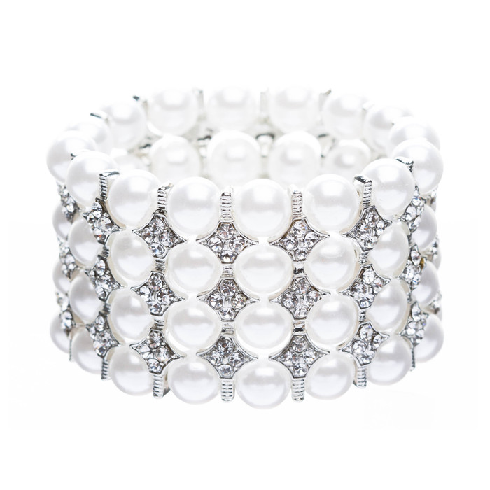 Bridal Wedding Jewelry Crystal Rhinestone Beautiful Stunning Stretch Bracelet