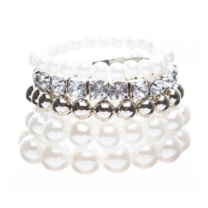 Bridal Wedding Jewelry Crystal Rhinestone Pearl Multi Strands Set Silver Ivory