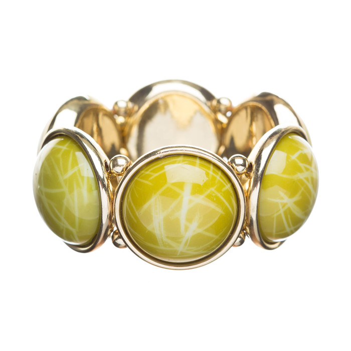 Classic Stylish Beautiful Round Stretch Fashion Bracelet Gold Green