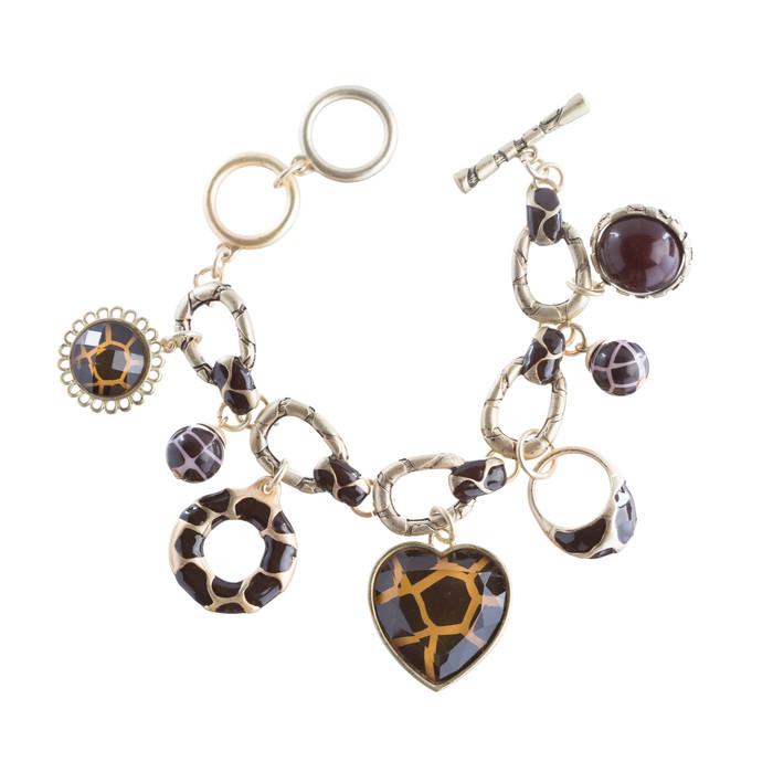 Beautiful Beads Heart Animal Print Charm Link Fashion Bracelet Brown