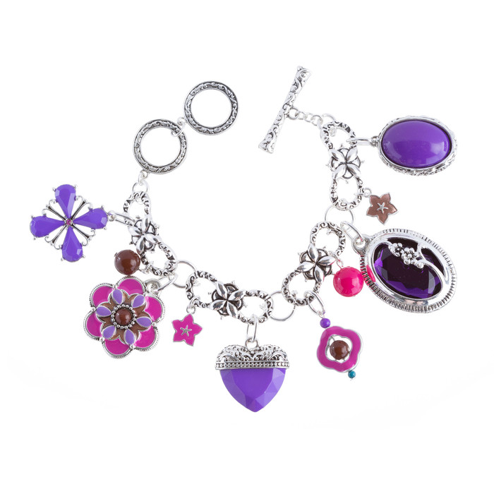 Beautiful Beads Heart Dangle Charm Link Fashion Bracelet Silver Purple