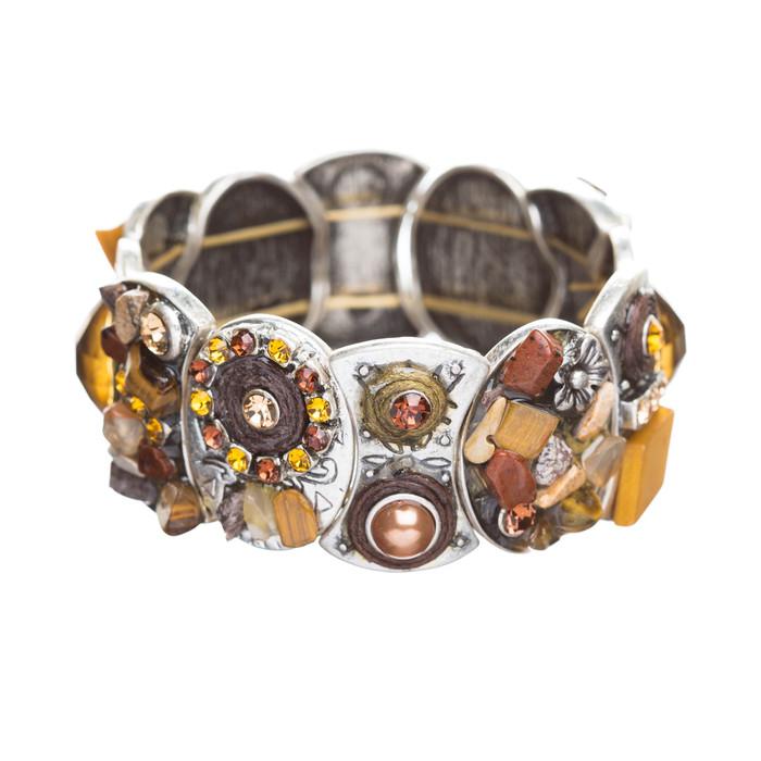 Beautiful Vintage Crystal Rhinestone Stretch Fashion Bracelet Silver