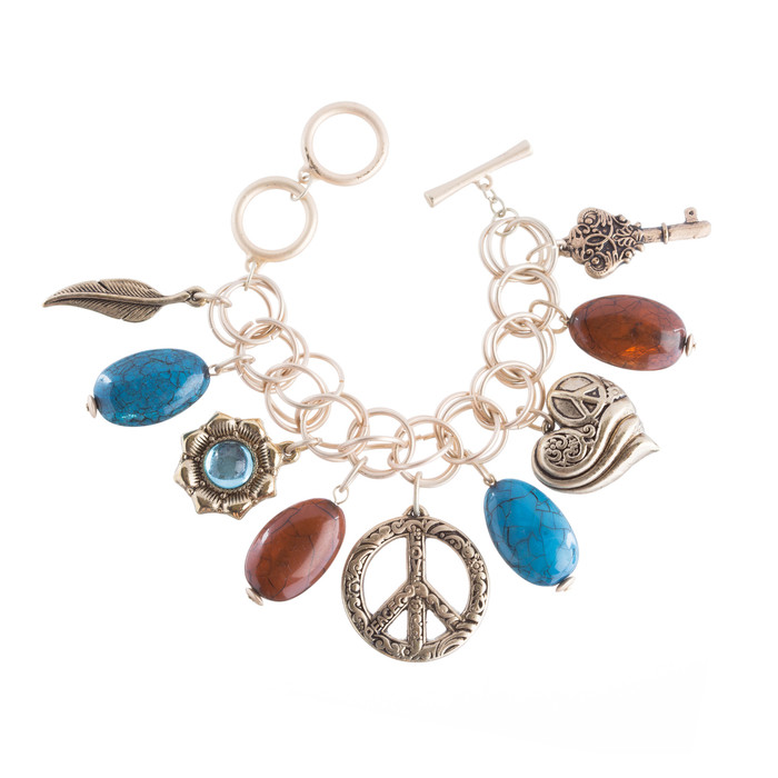 Beautiful Beads Peace Charm Design Link Fashion Bracelet Antique Gold