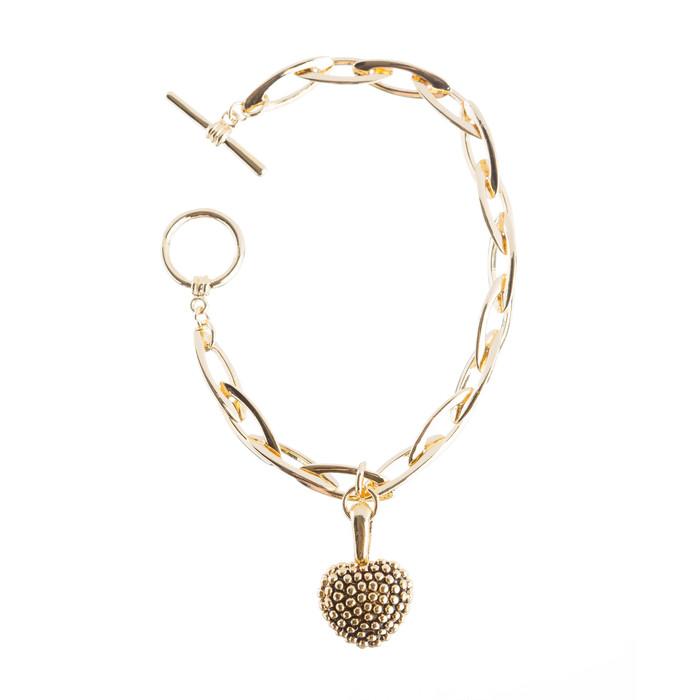 Beautiful Simple Heart Charm Dangle Design Link Fashion Bracelet Gold
