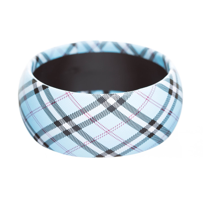 Fashion Trendy Stylish Plaid Pattern Design Bangle Bracelet Pretty Light Blue