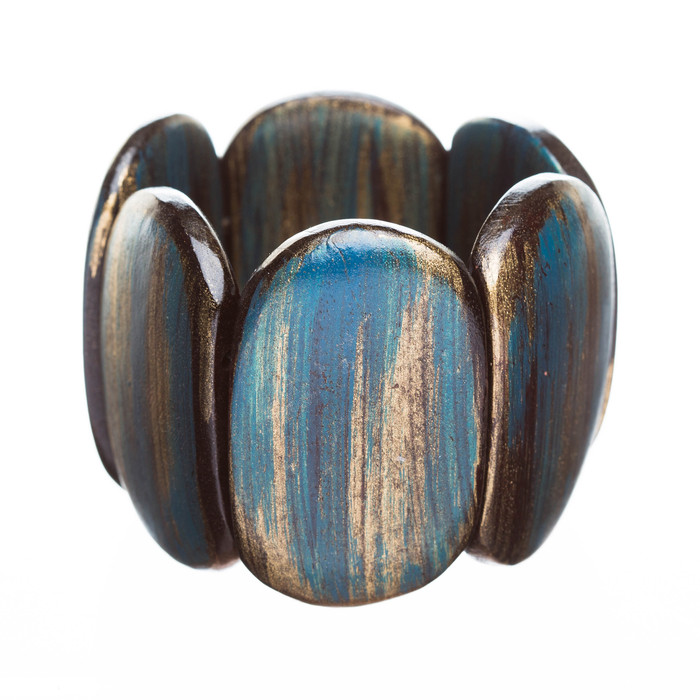 Fashion Trendy Chic Stylish Unique Wood Wide Stretch Bracelet Blue Brown