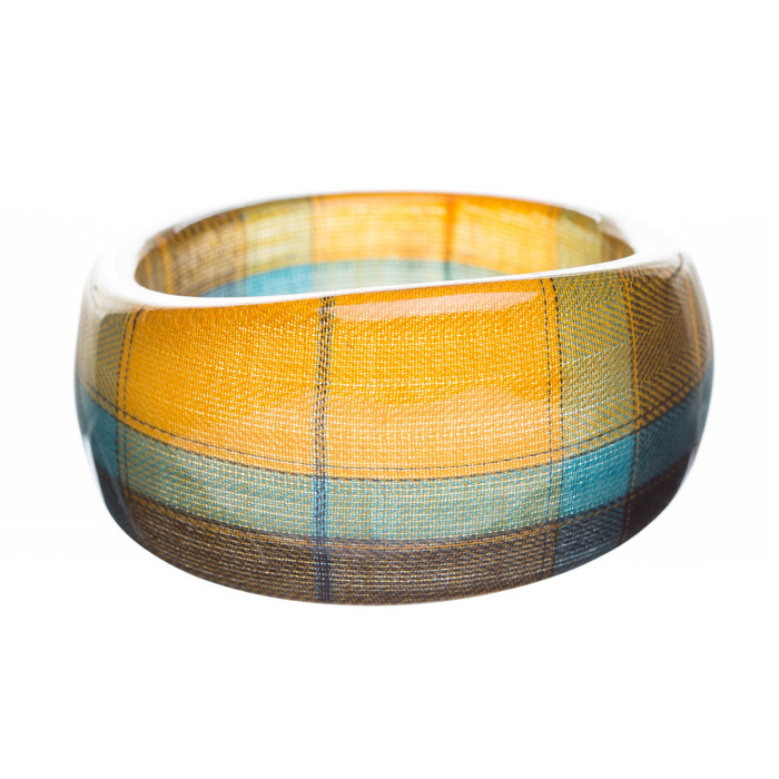Fashion Trendy Stylish Plaid Pattern Design Bangle Bracelet Blue Yellow