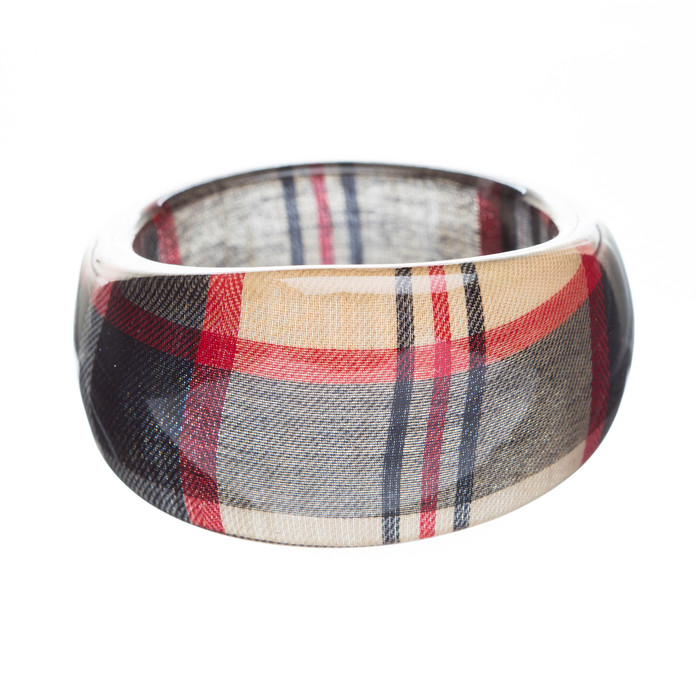 Fashion Trendy Stylish Plaid Pattern Design Bangle Bracelet Red Black