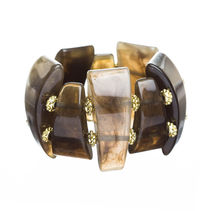 Fashion Trendy Chic Stylish Multi Shapes Stretch Bracelet Gold Brown