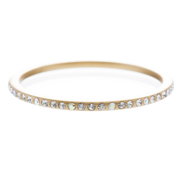 Fashion Sparkle Crystal Rhinestone Lucite Simple Liner Bangle Bracelet Gold