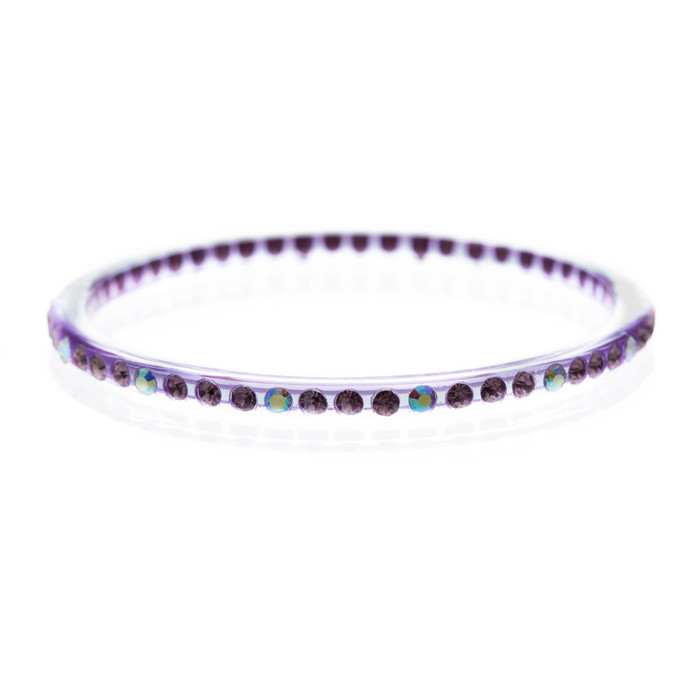 Fashion Sparkle Crystal Rhinestone Lucite Simple Liner Bangle Bracelet Purple