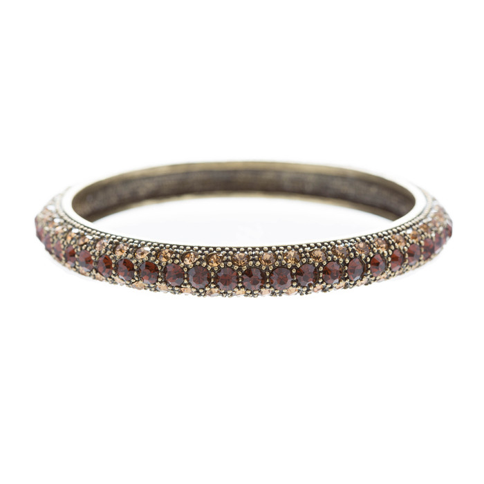Beautiful Stunning Crystal Rhinestones Metal Bangle Bracelet Antique Brown