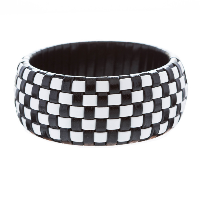 Fashion Trendy Classic Beautiful Leatherette Checker Design Bangle Bracelet