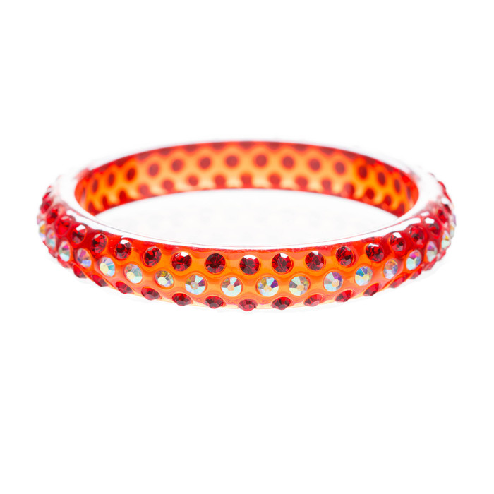 Beautiful Dazzle Crystal Rhinestone Stylish Translucent Bangle Bracelet Red