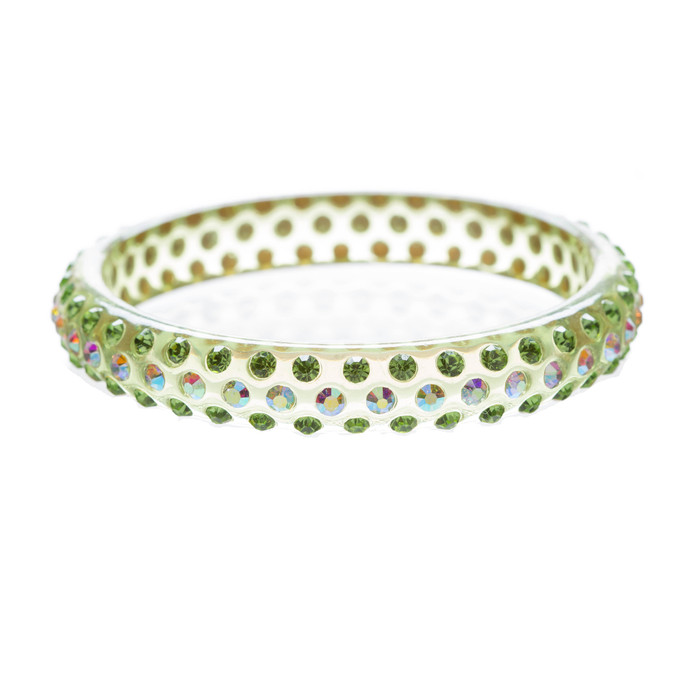 Beautiful Dazzle Crystal Rhinestone Stylish Translucent Bangle Bracelet Green