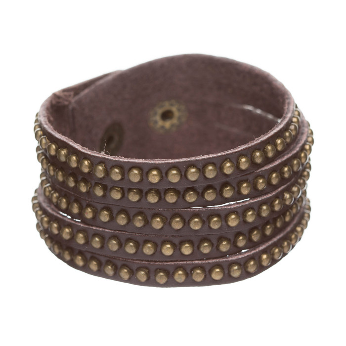 Trendy Metal Studs Style Genuine Leather Fashion Wrap Bracelet Silver Brown