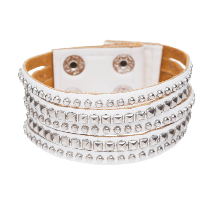 Chic Trendy Multi Metal Studs Style Genuine Leather Wrap Fashion Bracelet White
