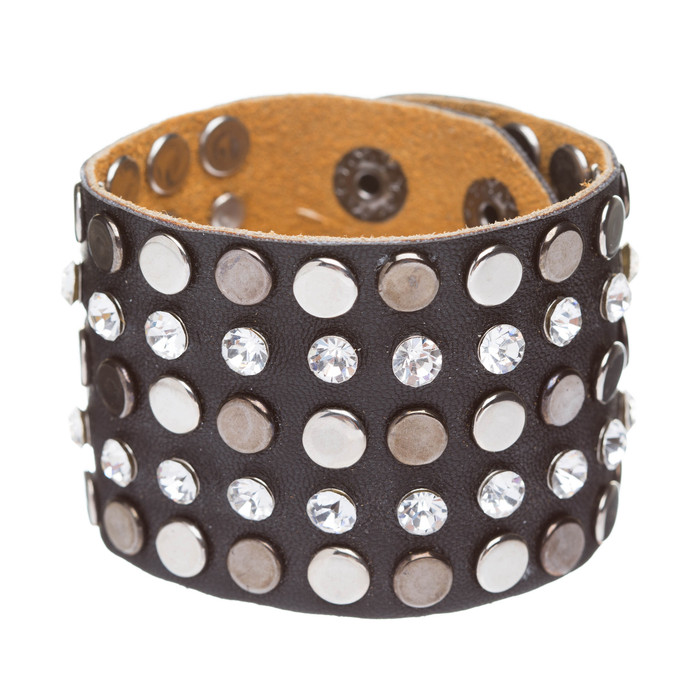 Dazzle Crystal Rhinestone Metal Studs Style Leather Wrap Fashion Bracelet Black