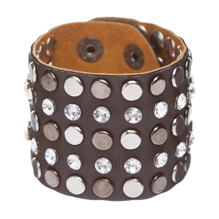 Dazzle Crystal Rhinestone Metal Studs Style Leather Wrap Fashion Bracelet Brown