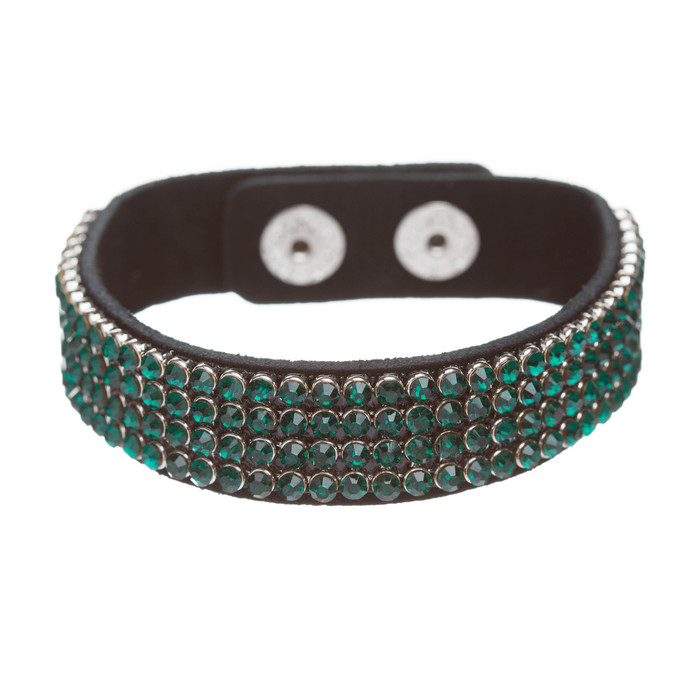 Simple Liner Sparkle Crystal Rhinestone Faux Leather Wrap Fashion Bracelet Green
