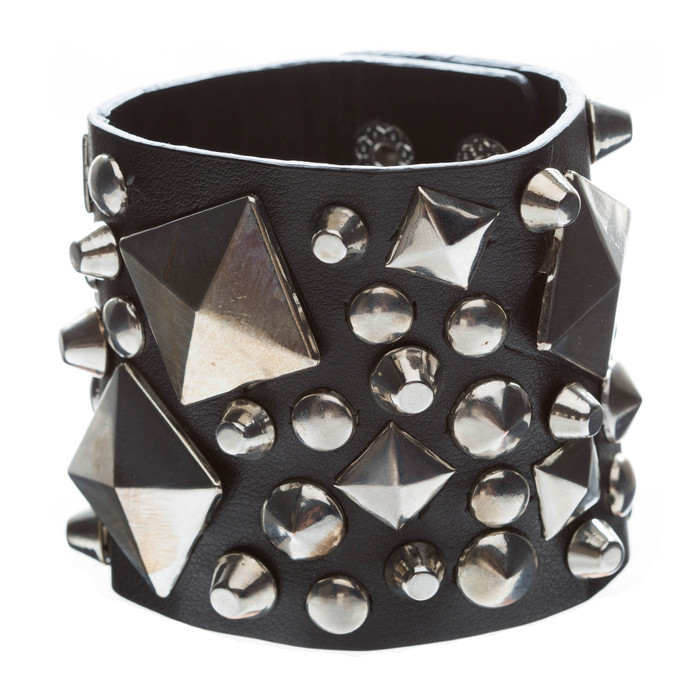 Unique Multi Shapes Metal Studs Design Wide Fashion Wrap Bracelet Black
