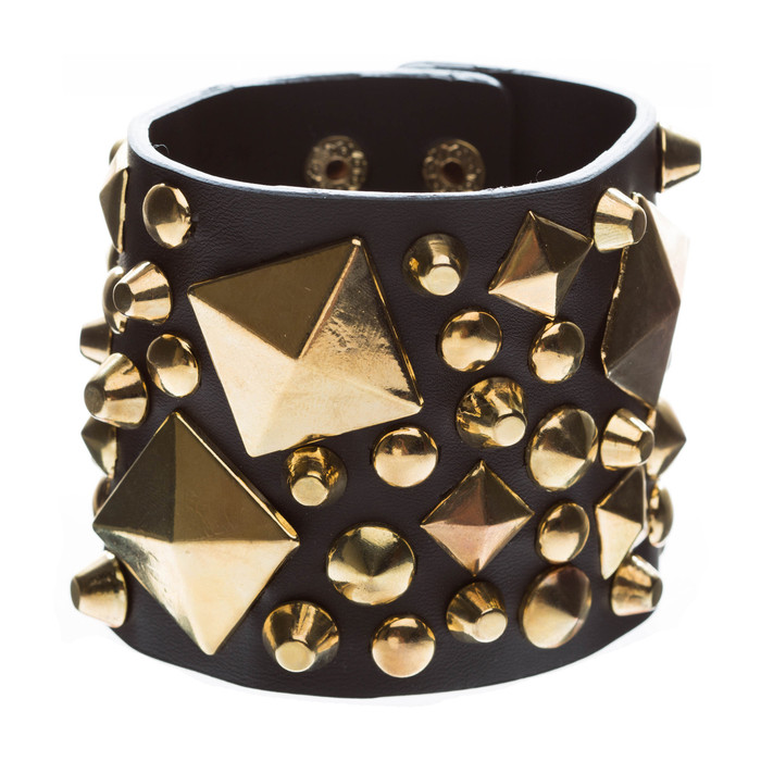 Unique Multi Shapes Metal Studs Design Wide Fashion Wrap Bracelet Brown