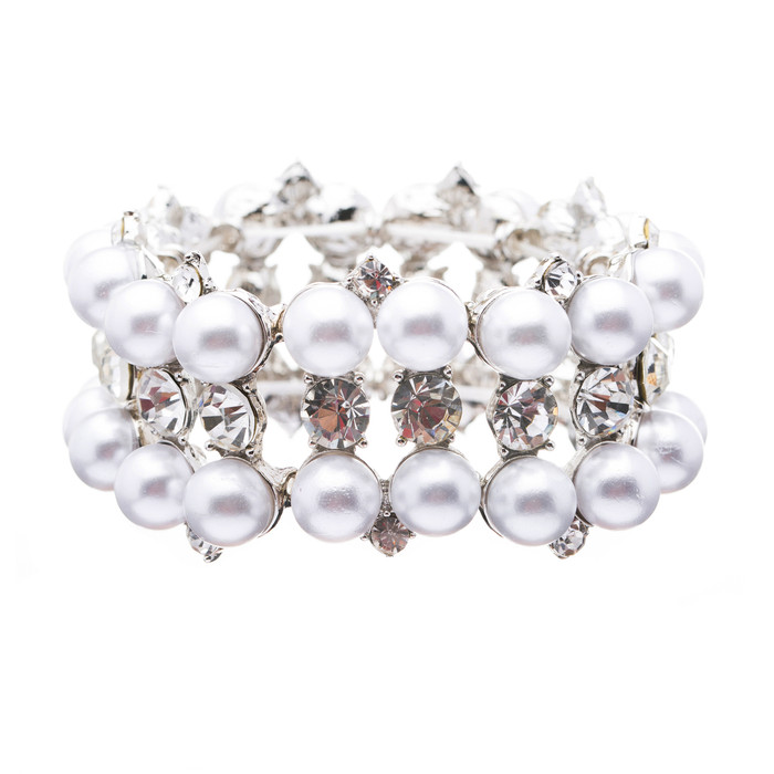 Bridal Wedding Jewelry Set Crystal Rhinestone Pearl Classic Stretch Bracelet WT