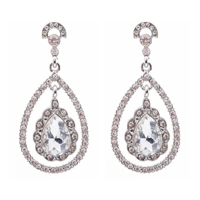 Bridal Wedding Jewelry Crystal Rhinestone Dazzle Elegant Dangle Drop Earrings SV