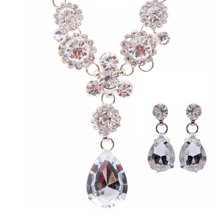 Bridal Wedding Jewelry Crystal Rhinestone Brilliant Design Necklace Earring SV
