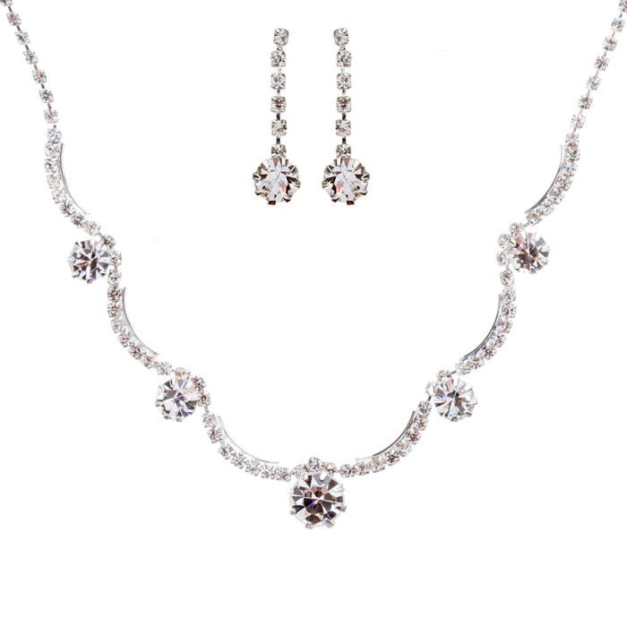 Bridal Wedding Jewelry Set Crystal Rhinestone Gorgeous Curved Design Necklace