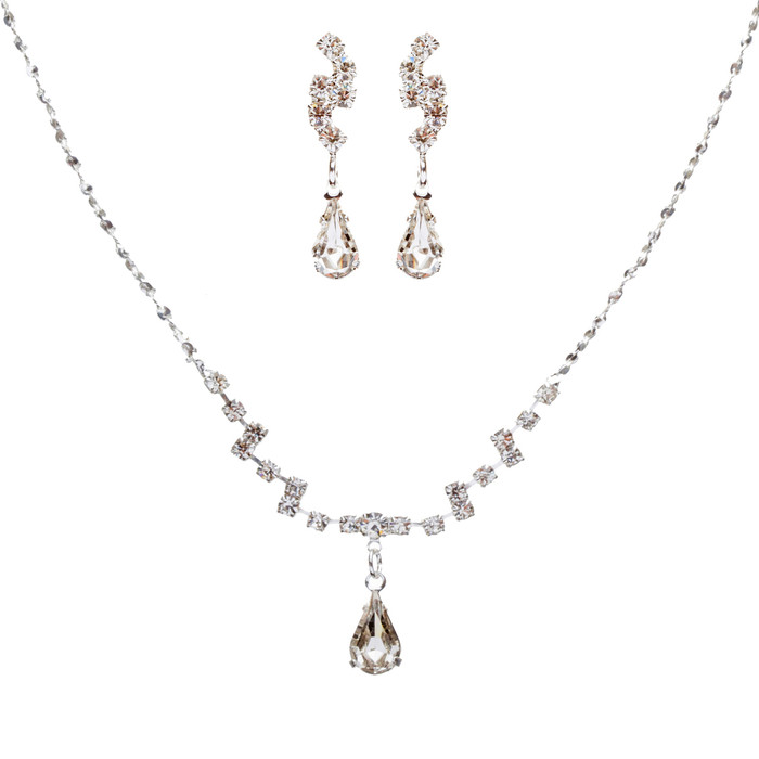 Bridal Wedding Jewelry Set Crystal Rhinestone Simple Teardrop Necklace Silver